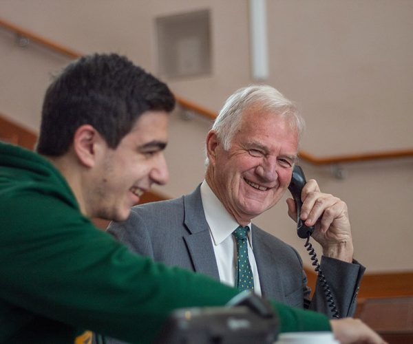 Clarkson University President Tony Collins answering calls on Grateful Golden Knights Day