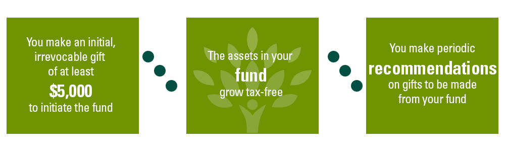 You make an initial, irrevocable gift of at least $5,000 to initiate the fund, You make an initial, irrevocable gift of at least $5,000 to initiate the fund, The assets in your fund grow tax-free